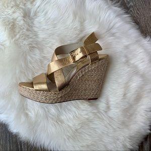 MK Champagne Gold Giovanna Wedge Sandals